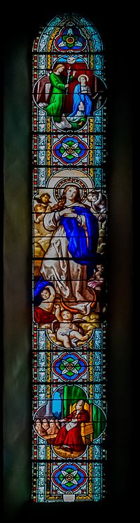 Stained glass window in the Saint Felix Church in Laissac 02.jpg