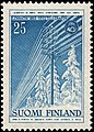 Stamp of Finland - 1955 - Colnect 46219 - Telegraph Lines in Winter Landscape.jpeg