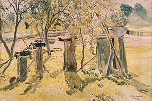 Beehive - Beehives – watercolour painted by Stanisław Masłowski in Wola Rafałowska village, Poland in 1924, Silesian Museum in Katowice, Poland