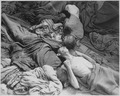 Starved bodies of prisoners who were transported to Dachau from another concentration camp, lie grotesquely as they... - NARA - 531342.tif