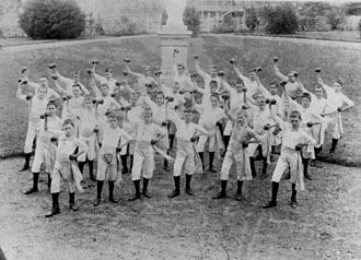 Boondall, Queensland - Dumbbell drill on the front lawn of Nudgee College, 1898