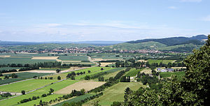 Foothill zone (Upper Rhine Graben) - The Upper Rhine Plain and foothill zone of the southern Black Forest. View from Staufen Castle towards Schönberg (rear right)