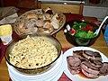 Steak, salad, pasta salad and bread roll dinner.jpg