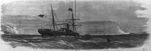 Merchant steamer, Ft. Sumter center horizon, Confederate battery smoke left and right.