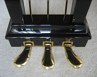 Piano pedals from left to right: una corda, sostenuto and sustain pedal Steinway grand piano - pedals.jpg