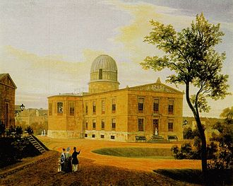 Berlin Observatory - 1838 painting of the New Berlin Observatory (Linden Street), where the planet Neptune was discovered in 1846.