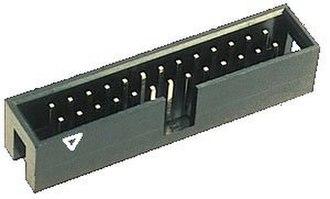 Pin header - 13x2 box header, shrouded with notch key, triangle denotes pin 1