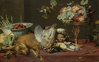 Still life with small game and fruits