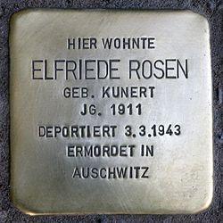 Photo of Elfriede Rosen brass plaque