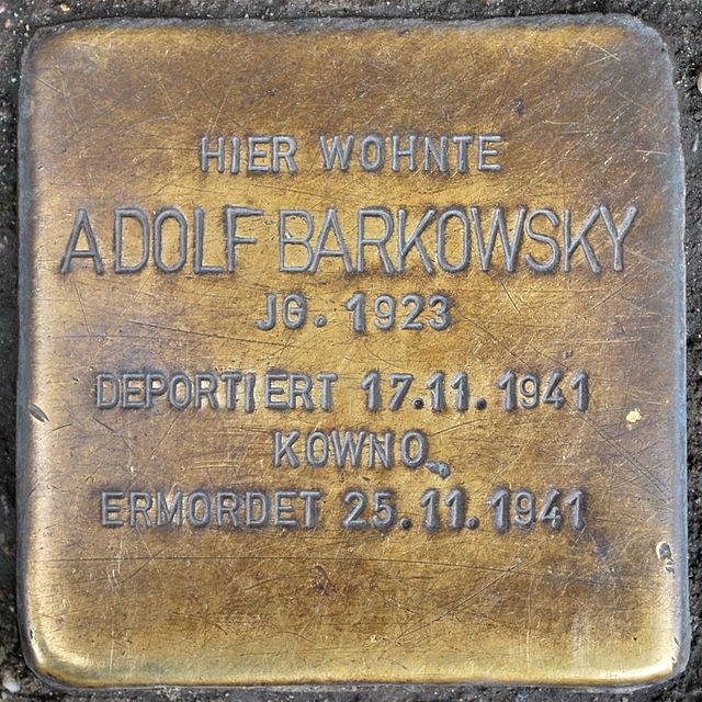 Photo of Adolf Barkowsky brass plaque