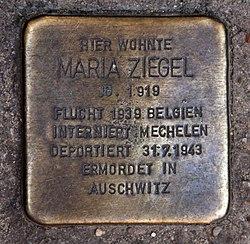 Photo of Maria Ziegel brass plaque