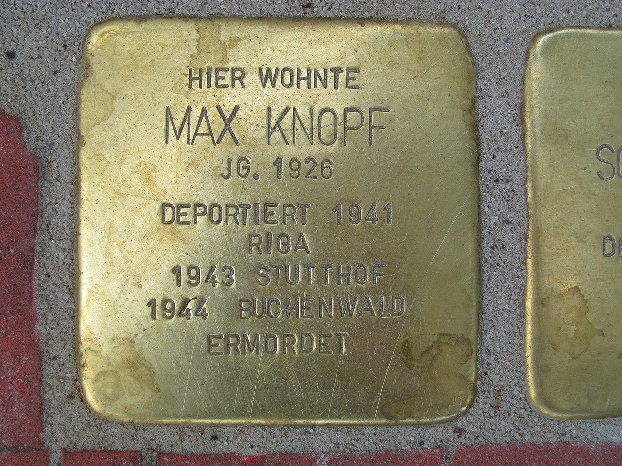 Stolperstein Max Knopf, 1, Mittelgasse 1, Mitte, Kassel.jpg