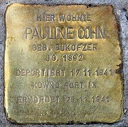 Photo of Pauline Cohn brass plaque