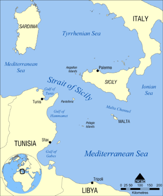 Strait of Sicily - Image: Strait of Sicily map
