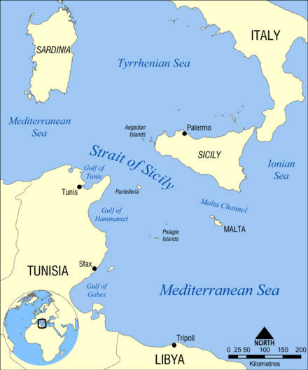 Map of the central Mediterranean