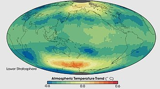 Stratosphere - This image shows the temperature trend in the lower stratosphere as measured by a series of satellite-based instruments between January 1979 and December 2005. The lower stratosphere is centered around 18 kilometers above Earth's surface. The stratosphere image is dominated by blues and greens, which indicates a cooling over time.