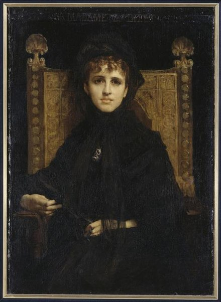 Portrait of Mme Georges Bizet, nee Genevieve Halevy, by Jules-Elie Delaunay, in Musee d'Orsay (1878). She served as partial inspiration for the character of Odette. Straus, Genevieve - 2.jpg
