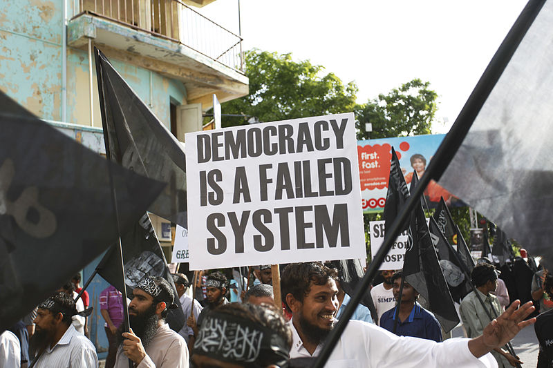 File:Street protest calling for Sharia in Maldives, Democracy failed system poster.jpg