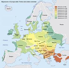 Mappa della progressiva espansione della Tortora dal collare in Europa nel corso del XX secolo
