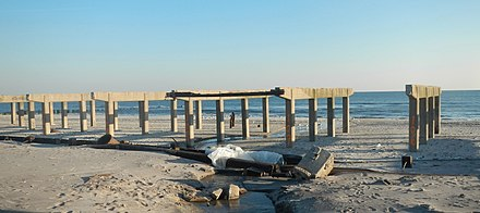 Stripped boardwalk in Rockaway Beach after Hurricane Sandy in 2012 Stripped boardwalk RB Sandy jeh.jpg