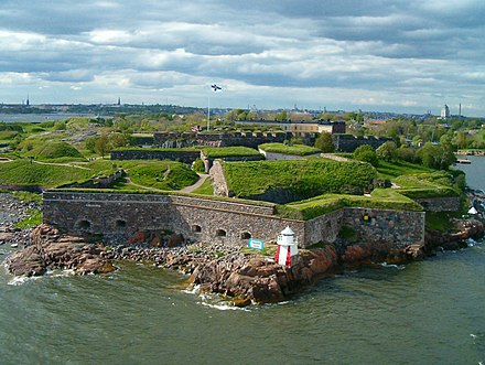 Now lying within Helsinki, Suomenlinna is a UNESCO World Heritage Site consisting of an inhabited 18th-century sea fortress built on six islands. It is one of Finland's most popular tourist attractions. Suomenlinna.jpg
