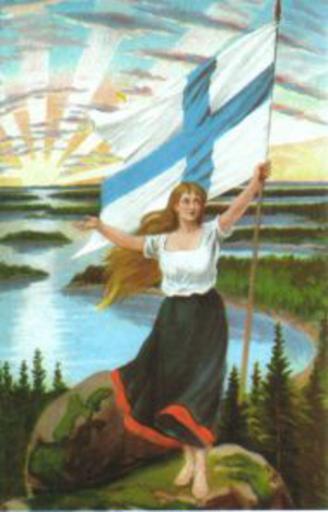 Finnish Maiden - The Finnish Maiden on a 1906 postcard.