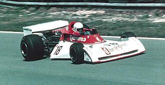 Chesterfield (cigarette) - The Surtees TS 19 driven by Brett Lunger. Notice the Chesterfield sponsoring on the front