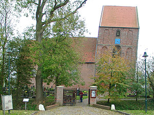 Leaning Tower of Suurhusen - Side view of the Suurhusen Church