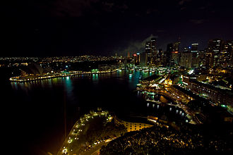 Earth Hour - Overview of Sydney during Earth Hour 2008