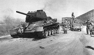 Tanks of South Korea - Knocked out North Korean T-34 during the Korean War in September 1950 near Seoul after the amphibious landings at Inchon.