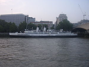 TS Queen Mary - TS Queen Mary on the Thames in 2007, with two funnels restored