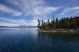 Lake Tahoe - The south shore in California as seen from Chimney Bay on the Nevada side