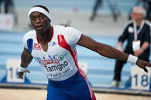 2011 European Athletics Indoor Championships - Teddy Tamgho celebrates his world record