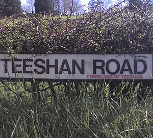 Townland - A road sign in County Antrim, Northern Ireland, noting that this part of the road lies within Teeshan townland