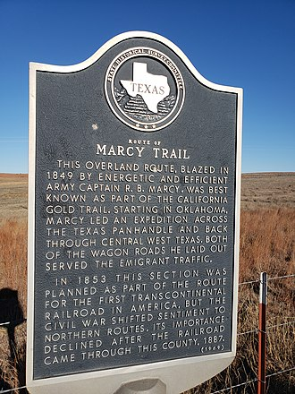 Randolph B. Marcy - Texas historical markers south of Pampa (left) and Canadian (right)