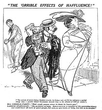 """Political opportunism - Caricature chastising the Labour Party for how they changed once they began getting some power in the British Government… Miss LIBERAL PARTY: """"That rough person seems to think he knows you."""" LABOUR STATESMAN """"Oh, no doubt, m'lady, before one was a member of the governing classes one could know all sorts of queer people, but now, as you know, one has to be careful."""""""