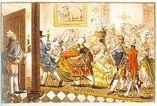 Karikatur James Gillrays zur Vermählung Erbprinz Friedrichs von Württemberg mit Charlotte Auguste Mathilde von England. (Quelle: Wikimedia)
