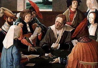 Game - The Card Players by Lucas van Leyden (1520) depicting a multiplayer card game.