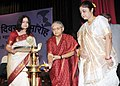 The Chief Minister of Delhi, Smt. Sheila Dikshit lighting the lamp to inaugurate the Women's Day Award function, organized by the Railway Women's Welfare Central Organisation, in New Delhi on March 08, 2011.jpg