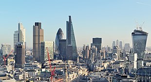<small>The City of London skyline in December 2013</small>