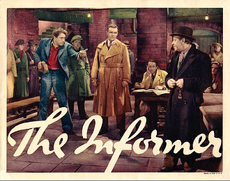 The Informer (1935 film) - Lobby card for The Informer featuring Victor McLaglen, Preston Foster and Donald Meek