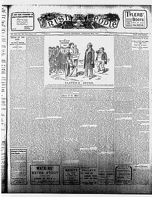 Cork Free Press - The Irish People newspaper issue February 1908 with Ulster's offer