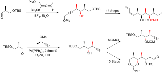 The Marshall synthesis of (+)-discodermolide fragment.png