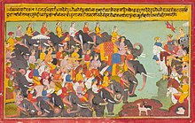 The Pandava and Kaurava armies face each other.JPG