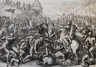 Amalek - Illustration from Phillip Medhurst Collection depicting Joshua fighting Amalek (Exodus 17).