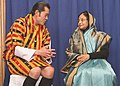 The President, Smt. Pratibha Devisingh Patil with the 5th King of Bhutan HM Jigme Khesar Namgyel Wangchuck, at Royal Banquet Hall, on November 06, 2008.jpg