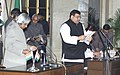 The President Dr.A.P.J.Abdul Kalam administering the Oath (Minister of State) to Dr. Akhilesh Das, in New Delhi on January 29,2006.jpg