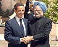 The President of France, Mr. Nicolas Sarkozy receiving the Prime Minister, Dr. Manmohan Singh for the working lunch, at Hotel Marigny, in Paris on July 14, 2009.jpg