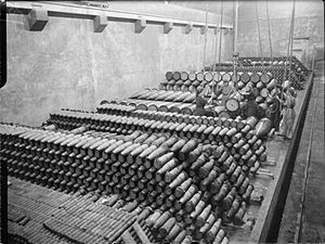 Royal Naval Armaments Depot - RNAD Dean Hill: photograph taken inside Magazine No. 16 during the Second World War.