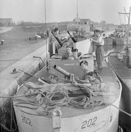Royal Marines of Force T manning a LCS (M) in South West Holland The Royal Navy during the Second World War A28452.jpg